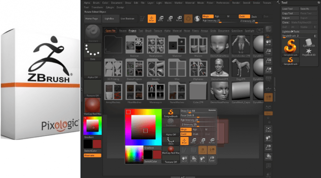 Pixologic ZBrush with patch